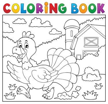 Coloring book running turkey bird 2