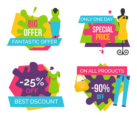 Big Fantastic Offer Now Bright Promotional Emblems