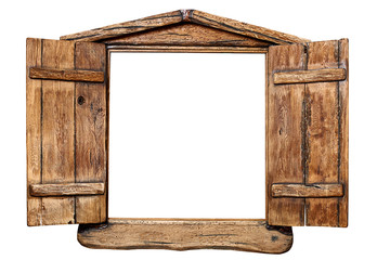 Old grunge wooden window frame, isolated on white.