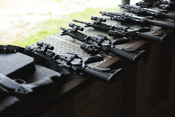 Machine guns arranged in military training