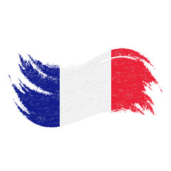 National Flag Of France, Designed Using Brush Strokes,Isolated On A White Background. Vector Illustration. Use For Brochures, Printed Materials, Logos, Independence Day.