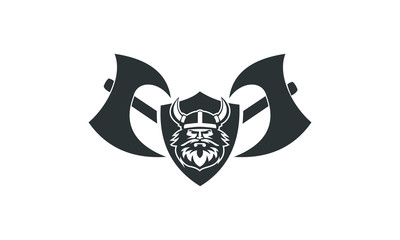viking head inside the shield
