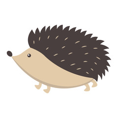 Cute Hedgehog Cartoon Flat Vector Sticker or Icon