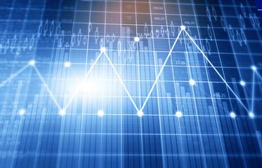 Fnancial stock market graphs and chart. Digital illustration.
