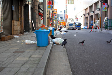東京新宿の空とゴミ