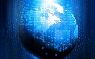 Global technology background, digital world. Digital illustration.