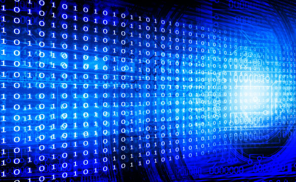 Blue binary background. Digital illustration