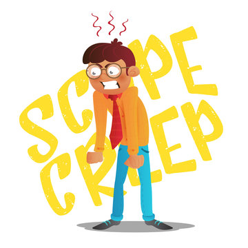 Scope creep inscription. Funny conceptual business vector cartoon illustration with screaming angry young man with glasses clenched his fists and dropped his hands down isolated on white background