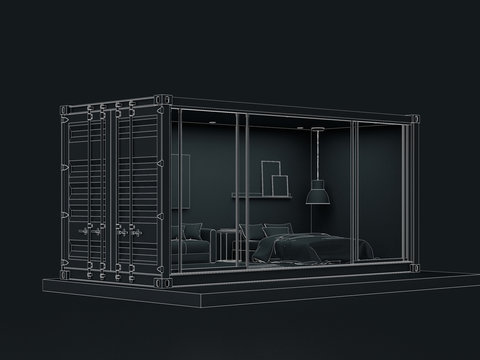 3D wireframe render of Container house exterior.