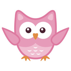 Owl stylized art icon in pink colors