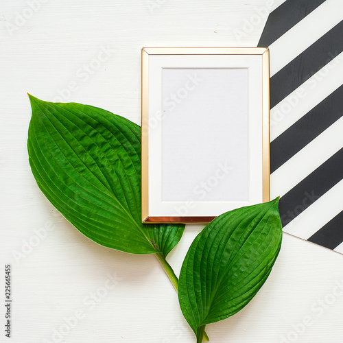 Gold Photo Frame With Tropical Leaves On Black And White Striped