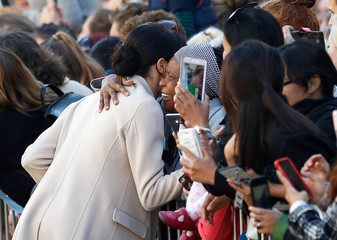 Meghan, the Duchess of Sussex, greets well wishers in Chichester