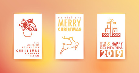 Merry Christmas and happy New Year greetings cards with gradient background and symbols