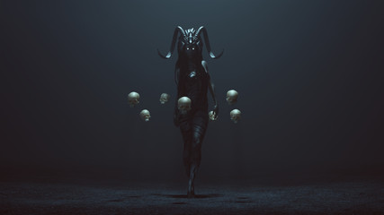 Evil Witch with a Head Dress in a foggy void with Floating Skulls 3d Illustration 3d render