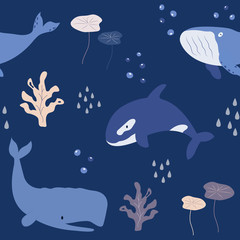 Seamless pattern baby print with whales, dolphins
