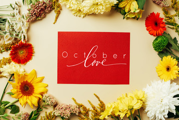 "flat lay with various beautiful flowers and red card with ""october love"" inspiration on beige background"
