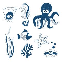 Cute Sea animals set. Doodle children drawings. Vector illustration.