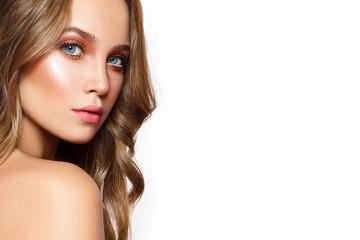 Fototapeta Beautiful woman portrait with nice make up and pure fresh skin. obraz