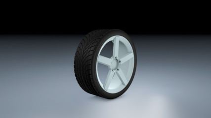 3d rendering of a single car tire on a matte surface