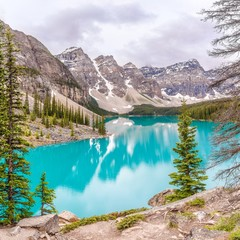 View at the Moraine Lake in Canadian Rocky Mountains near Banff - Alberta,Canada
