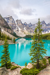 View at the Moraine Lake in Canadian Rocky Mountains near Banff