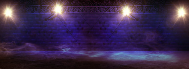 Background of empty room with spotlights and lights, abstract background with neon glow