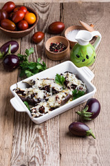 Stuffed eggplants with sun dried tomatoes and mozzarella cheese