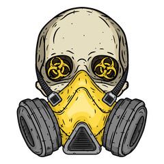 Skull. Skull with gas mask. Skull with respirator.