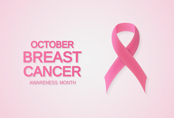 Breast Cancer awareness month card, banner or background with pink ribbon symbol. Vector illustration.
