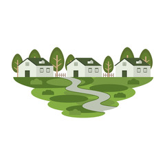 House Home Estate Residence in the Town Landscape Vector