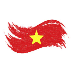 National Flag Of Vietnam, Designed Using Brush Strokes,Isolated On A White Background. Vector Illustration. Use For Brochures, Printed Materials, Logos, Independence Day.