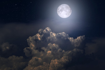 Canvas Prints Heaven The full moon between the clouds in the night sky