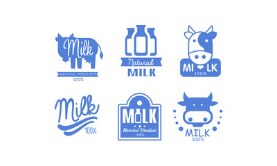 Milk natural products logos set, 100 percent fresh dairy natural food label, emblem design vector Illustration on a white background