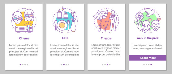 First date onboarding mobile app page screen with linear concept