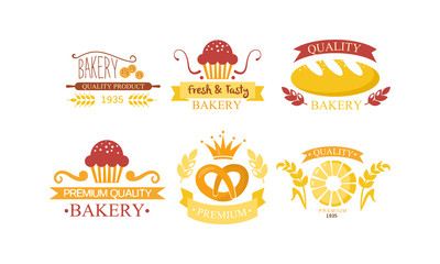 Bakery logo set, bakehouse retro emblem design, fresh quality bakery products and pastries vector Illustration on a white background
