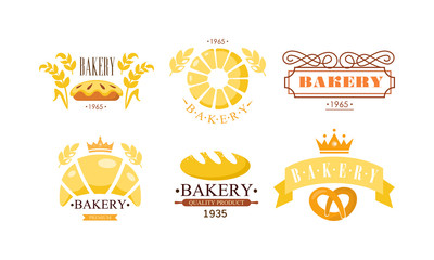 Bakery logo set, bakehouse retro badge fresh bakery products and pastries vector Illustration on a white background