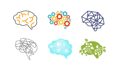 Human brain set, thinking or mind bright sign, creative idea symbols vector Illustration on a white background