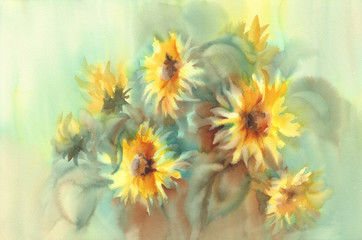 Sunny sunflowers on the yellow and green background watercolor