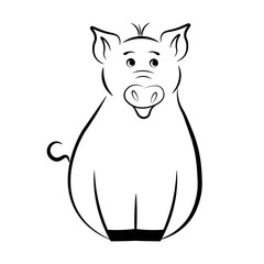 Funny pig in a black contour on a white background. Illustration,