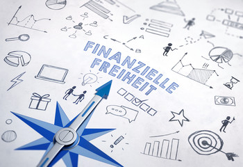 Finanzielle Freiheit | Kompass mit Handskizzen