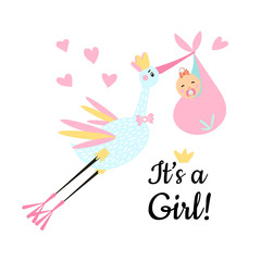 Vector Illustration. Design template card with hand lettering for baby shower. Cute funny stork and girl with different childish elements. Poster for the kid's birthday.