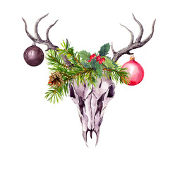 Christmas deer skull, christmas tree branches, mistletoe and decorative xmas baubles. Watercolor in boho style