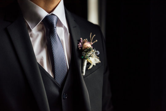 tie, shirt and jacket of the groom