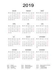 Kalender 2019 mit Feiertagen