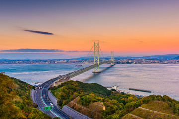 Awaji Island, Japan view of the Akashi Kaikyo Ohashi Bridge spanning the Seto Inland Sea to Kobe.