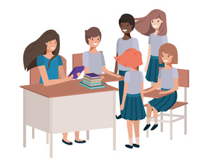 female teacher in the classroom with students