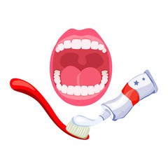 teeth, open mouth, hygiene. toothpaste and brush
