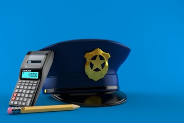 Police hat with calculator and pencil