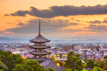 Nara, Japan Cityscape and Pagoda