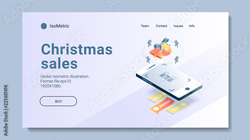Isometric Christmas shopping banners and buttons set  Online